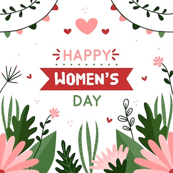 Floral women's day lettering