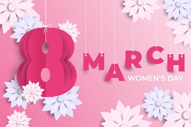 Floral women's day in paper style