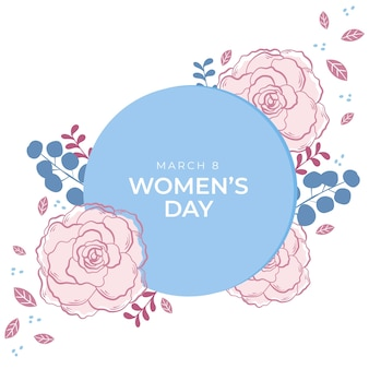 Floral women's day with leaves