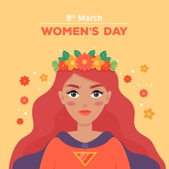 Floral women's day with long haired woman