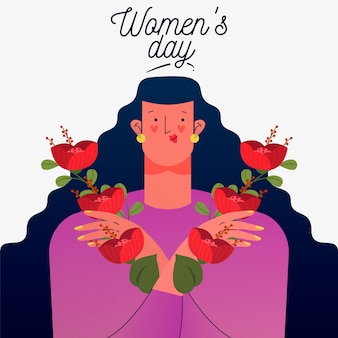 Floral women's day with woman holding flowers