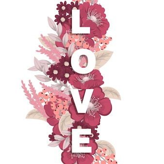 Floral word love (flowers, grass, leaves). floral letter.