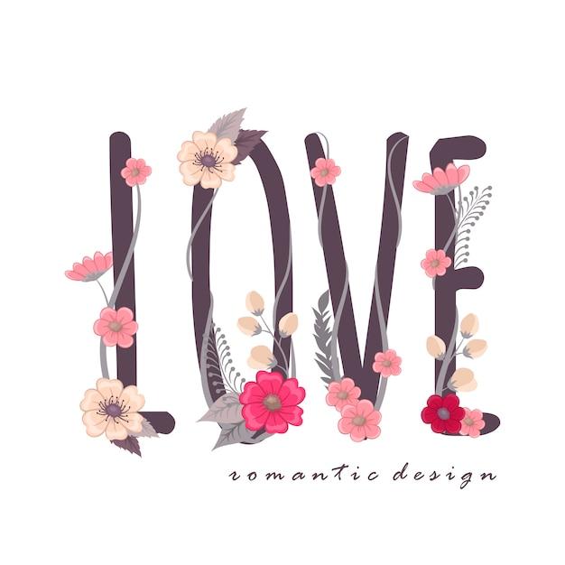 Floral word love