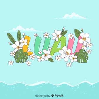 Floral word luau background