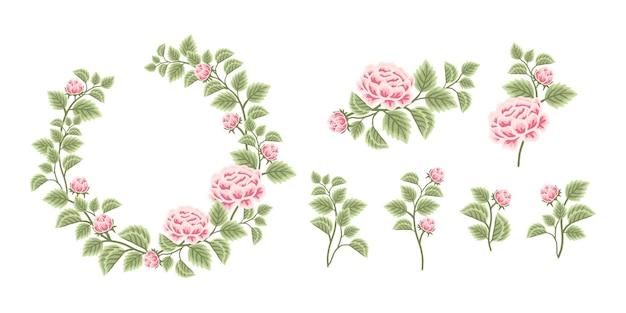 Floral wreath arrangement and bouquet element collection