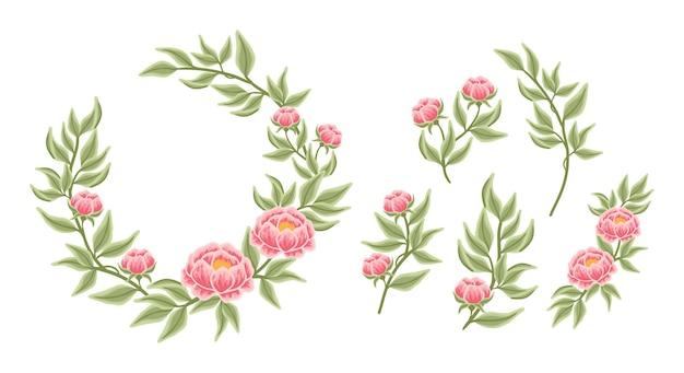 Floral wreath arrangement and bouquet element collection Premium Vector