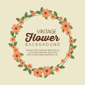 Floral wreath background template