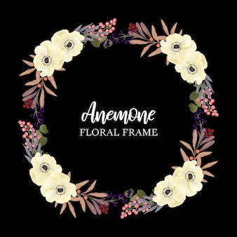 Floral wreath circle frame with anemone
