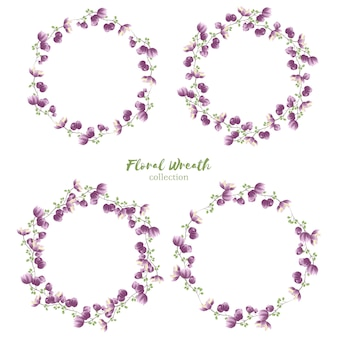 Floral wreath collection with small purple flower