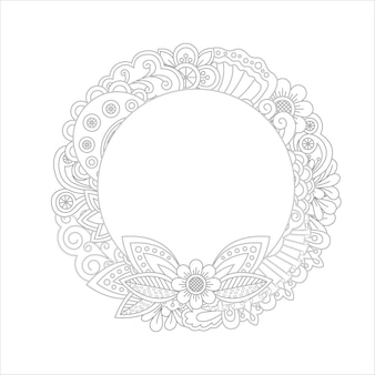 Floral wreath coloring page design