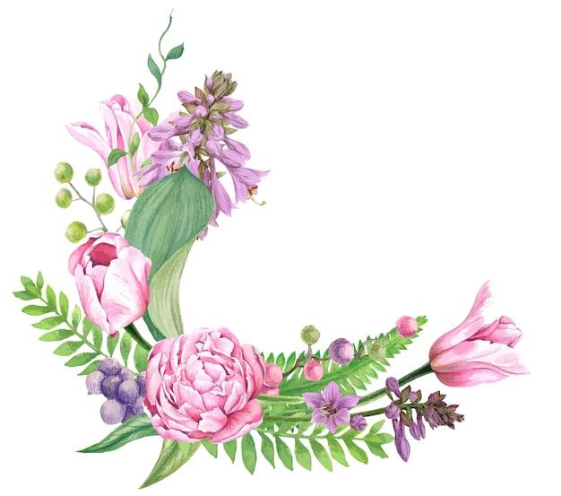 チューリップとギボウシの花で構成された花の花輪
