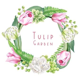 チューリップと葉で構成された花の花輪