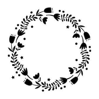 Floral wreath design element. vector illustration.