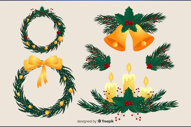 Цветочный венок плоский дизайн на рождество