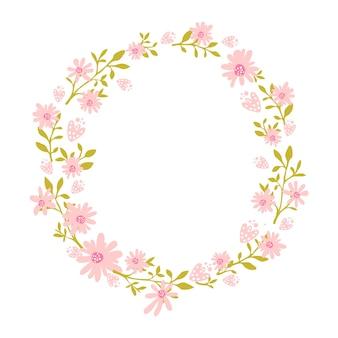 テキストのための場所が付いている花の花輪の花のフレームピンクの花が付いている自然に触発された花輪