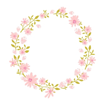 Floral wreath flower frame with place for text nature inspired garland with pink flowers