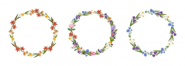 Floral wreath flowers frame collection set cartoon  illustration.