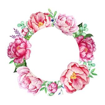 발렌타인 꽃 화환. 아름다운 모란과 손으로 그린 수채화의 잎 우아한 꽃 모음. 초대장, 결혼식 또는 인사 장을위한 디자인.