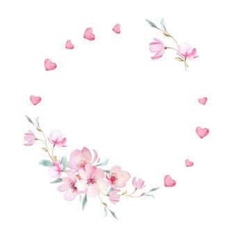 발렌타인 꽃 화환. 손으로 그린 수채화의 아름다운 사쿠라 꽃과 하트와 우아한 꽃 컬렉션.