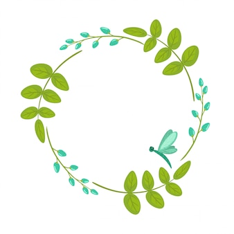 Floral wreath, frame with leaves and branches isolated