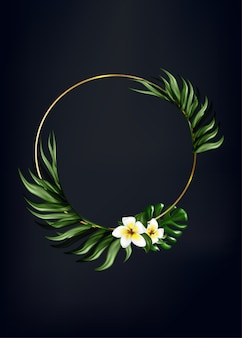 Floral wreath frame, with palm leaf and flower