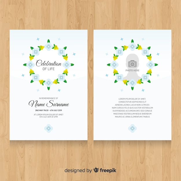 Floral wreath funeral card template