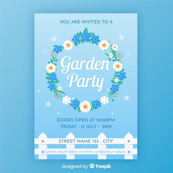 Floral wreath garden party poster