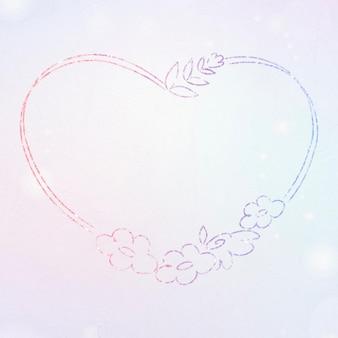 Floral wreath glitter border heart shaped
