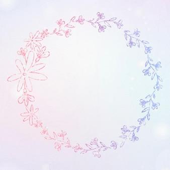 Floral wreath glitter border
