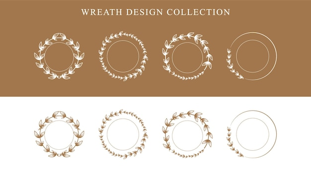 Floral wreath. hand drawn floral frames set premium vector