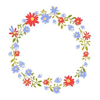 テキストのための場所と花の花輪手描きフレーム自然に触発された赤い花の花輪