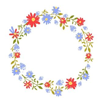 Floral wreath hand drawn frame with place for text nature inspired garland with red  flowers