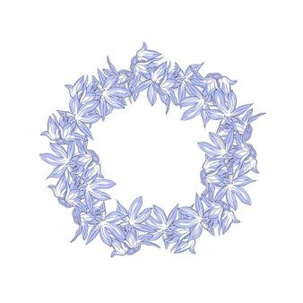 Цветочный венок рисованной стиль в синем цвете