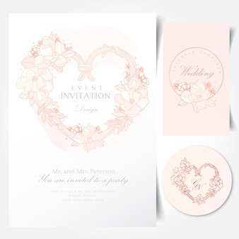 Floral wreath in heart shape for event invitation template