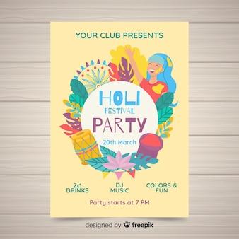 Manifesto del partito festival di corona floreale holi
