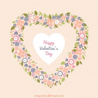 발렌타인 파스텔 색상의 꽃 화환