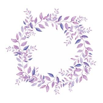 꽃 화 환 흰색 배경에 고립입니다. 보라색 나무 잎.