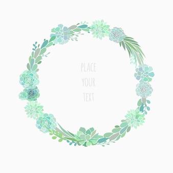 다육 식물로 만든 꽃 화환, 흰색으로 격리된 벡터 꽃 화환