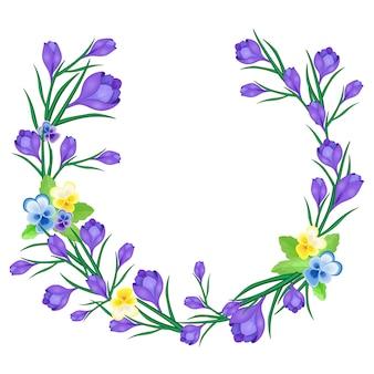 Floral wreath of purple flowers.