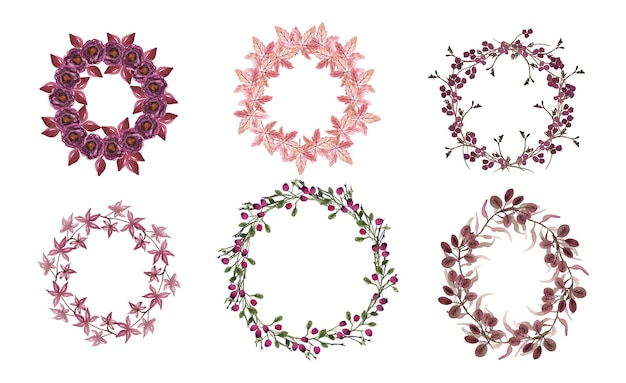 花の花輪。手描きのハーブと花で作られた丸いボーダー。ハーブフレーム。