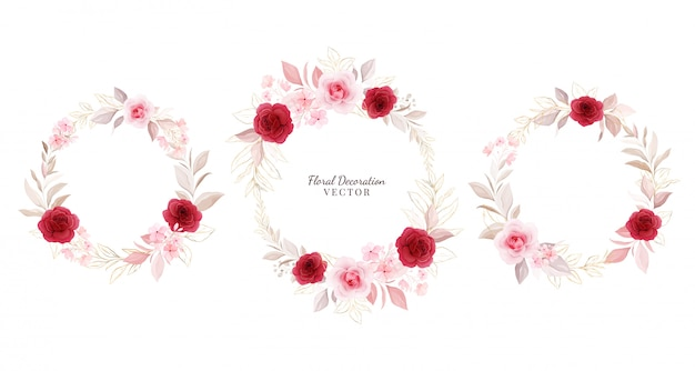 Floral wreath   set. wreath arrangements illustration of red and peach roses with gold leaves, branch.