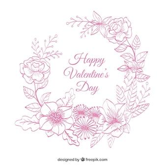 발렌타인 꽃 화환 스케치 배경