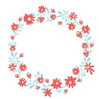 Цветочный венок, весенняя рисованная рамка с copyspace. природа вдохновила гирлянду с красными цветами. векторный дизайн для открыток и свадебных приглашений.