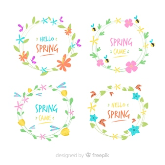 Floral wreath spring label set