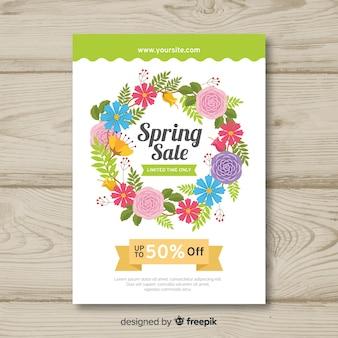 Floral wreath spring sale poster