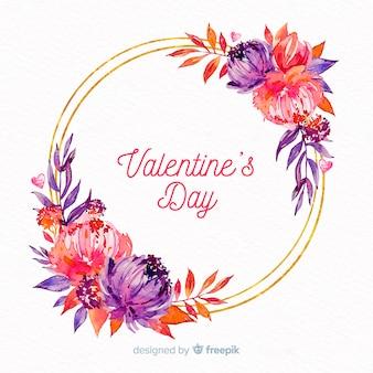 Floral wreath valentine's day background