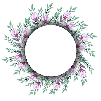 Floral wreath for vintage label.  illustration.