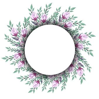 Floral wreath for vintage label.  illustration.