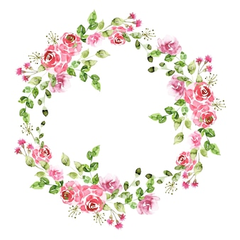Floral wreath in watercolor style