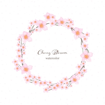 Floral wreath watercolor with beautiful japanese cherry blossom